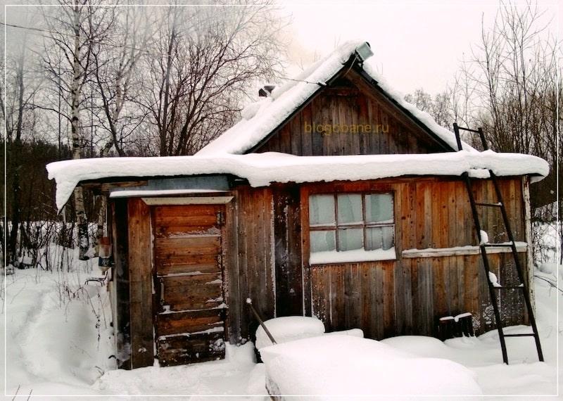 баня зимой