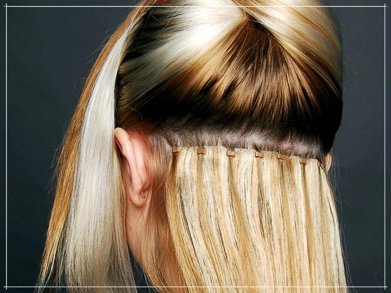 блондинка с наращенными волосами